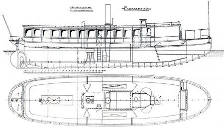 Ritning av ångslupen King Ring från Bergsunds mekaniska verkstad, Stockholm